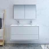 Catania 48'' Wall Hung Double Sink Bathroom Vanity with Medicine Cabinet in Glossy White Finish, 47-3/10'' W x 18-1/2'' D x 23-1/5'' H