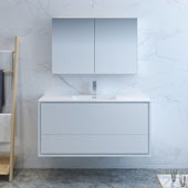Catania 48'' Wall Hung Bathroom Vanity with Medicine Cabinet in Glossy White Finish, 47-3/10'' W x 18-1/2'' D x 23-1/5'' H