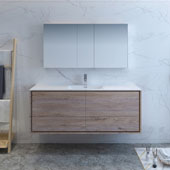 Catania 60'' Wall Hung Single Sink Bathroom Vanity with Medicine Cabinet in Rustic Natural Wood Finish, 59-3/10'' W x 18-1/2'' D x 23-1/5'' H