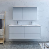 Catania 60'' Wall Hung Double Sink Bathroom Vanity with Medicine Cabinet in Glossy White Finish, 59-3/10'' W x 18-1/2'' D x 23-1/5'' H