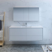 Catania 60'' Wall Hung Single Sink Modern Bathroom Vanity with Medicine Cabinet in Glossy White Finish, 59-3/10'' W x 18-1/2'' D x 23-1/5'' H