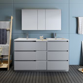 Lazzaro 60'' Freestanding Partitioned Double Bathroom Vanity Set with Medicine Cabinet in Gray Finish, 59-3/10'' W x 18-1/2'' D x 35-2/5'' H