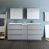 Lazzaro 72'' Freestanding Partitioned Double Bathroom Vanity Set with Medicine Cabinet in Gray Finish, 71-1/10'' W x 18-1/2'' D x 35-2/5'' H