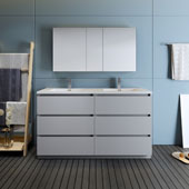Lazzaro 60'' Freestanding Double Bathroom Vanity Set with Medicine Cabinet in Gray Finish, 59-3/10'' W x 18-1/2'' D x 35-2/5'' H