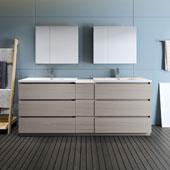 Lazzaro 84'' Freestanding Double Bathroom Vanity Set with Medicine Cabinet in Gray Wood Finish, 83-1/10'' W x 18-1/2'' D x 35-2/5'' H