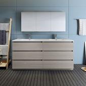 Lazzaro 72'' Freestanding Double Bathroom Vanity Set with Medicine Cabinet in Wood Finish, 71-1/10'' W x 18-1/2'' D x 35-2/5'' H