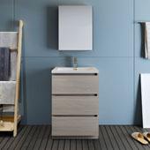 Lazzaro 24'' Freestanding Single Bathroom Vanity Set with Medicine Cabinet in Wood Finish, 23-4/5'' W x 18-1/2'' D x 35-2/5'' H