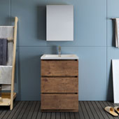 Lazzaro 24'' Freestanding Single Bathroom Vanity Set with Medicine Cabinet in Rosewood Finish, 23-4/5'' W x 18-1/2'' D x 35-2/5'' H