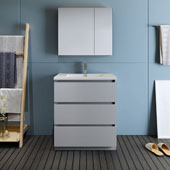 Lazzaro 30'' Freestanding Single Bathroom Vanity Set with Medicine Cabinet in Gray Finish, 29-7/10'' W x 18-1/2'' D x 35-2/5'' H
