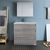 Lazzaro 36'' Freestanding Single Bathroom Vanity Set with Medicine Cabinet in Glossy Ash Gray Finish, 35-7/10'' W x 18-1/2'' D x 35-2/5'' H