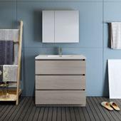 Lazzaro 36'' Freestanding Single Bathroom Vanity Set with Medicine Cabinet in Wood Finish, 35-7/10'' W x 18-1/2'' D x 35-2/5'' H
