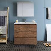 Lazzaro 36'' Freestanding Single Bathroom Vanity Set with Medicine Cabinet in Rosewood Finish, 35-7/10'' W x 18-1/2'' D x 35-2/5'' H