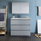 Lazzaro 42'' Freestanding Single Bathroom Vanity Set with Medicine Cabinet in Gray Finish, 39-1/2'' W x 18-1/2'' D x 35-2/5'' H
