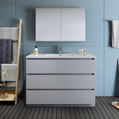 Lazzaro 48'' Freestanding Single Bathroom Vanity Set with Medicine Cabinet in Gray Finish, 47-1/2'' W x 18-1/2'' D x 35-2/5'' H