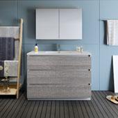 Lazzaro 48'' Freestanding Single Bathroom Vanity Set with Medicine Cabinet in Glossy Ash Gray Finish, 47-1/2'' W x 18-1/2'' D x 35-2/5'' H