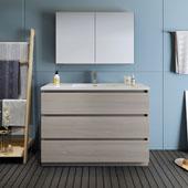 Lazzaro 48'' Freestanding Single Bathroom Vanity Set with Medicine Cabinet in Gray Wood Finish, 47-1/2'' W x 18-1/2'' D x 35-2/5'' H