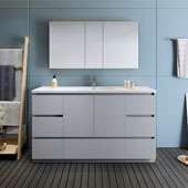 Lazzaro 60'' Freestanding Single Bathroom Vanity Set with Medicine Cabinet in Gray Finish, 59-3/10'' W x 18-1/2'' D x 35-2/5'' H