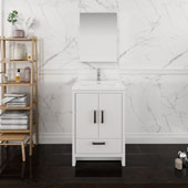 Imperia 24'' Freestanding Single Bathroom Vanity with Medicine Cabinet in Glossy White Finish, 23-4/5'' W x 18-1/2'' D x 35-2/5'' H
