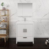 Imperia 30'' Freestanding Single Bathroom Vanity with Medicine Cabinet in Glossy White Finish, 29-7/10'' W x 18-1/2'' D x 35-2/5'' H