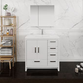 Imperia 36'' Freestanding Single Right-Styled Bathroom Vanity Set with Medicine Cabinet in Glossy White Finish, 35-7/10'' W x 18-1/2'' D x 35-2/5'' H