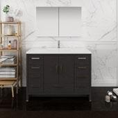Imperia 48'' Freestanding Single Bathroom Vanity with Medicine Cabinet in Dark Gray Oak Finish, 47-1/2'' W x 18-1/2'' D x 35-2/5'' H