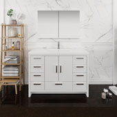 Imperia 48'' Freestanding Single Bathroom Vanity with Medicine Cabinet in Glossy White Finish, 47-1/2'' W x 18-1/2'' D x 35-2/5'' H