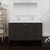 Imperia 60'' Freestanding Double Bathroom Vanity Set with Medicine Cabinet in Dark Gray Oak Finish, 59-3/10'' W x 18-1/2'' D x 35-2/5'' H