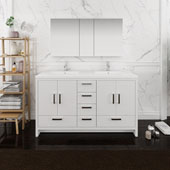 Imperia 60'' Freestanding Double Bathroom Vanity Set with Medicine Cabinet in Glossy White Finish, 59-3/10'' W x 18-1/2'' D x 35-2/5'' H