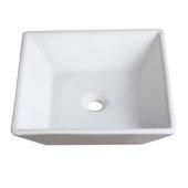 Torino White Vessel Sink, 16'' W x 16'' D x 5'' H