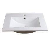 Torino 24'' White Integrated Sink / Countertop, 24'' W x 18-1/8'' D x 5/8'' H