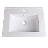 Allier 24'' White Integrated Sink / Countertop, 24'' W x 18-1/4'' D