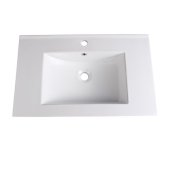 Allier 30'' White Integrated Sink / Countertop, 30'' W x 18-1/4'' D