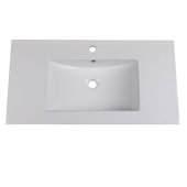 Allier 36'' White Integrated Sink / Countertop, 36'' W x 18-1/4'' D
