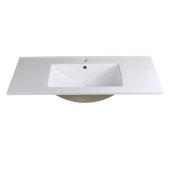 Allier 40'' White Integrated Sink / Countertop, 39-3/8'' W x 18-1/4'' D