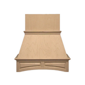 Arched Raised-Panel Island Mount Wood Hood, Multiple Sizes & Finishes Available (CFM depends on choice of blower, not included)