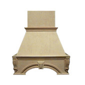 Decorative Keystone Island Mount Wood Range Hood, Multiple Sizes & Finishes Available (CFM depends on choice of blower, not included)