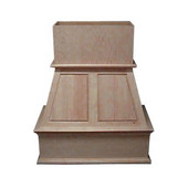 Upper Raised Panel Island Mount Wood Hood, Multiple Sizes & Finishes Available (CFM depends on choice of blower, not included)