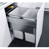 ''ENVI Space XX Pro'' Easy Close Waste Bin System for 19-11/16'' (500mm) Cabinet w/ 2 Grey Bins