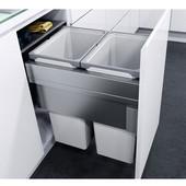 ''ENVI Space XX Pro'' Easy Close Waste Bin System for 19-11/16'' (500mm) Cabinet w/ 2 Grey Bins