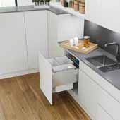 ''ENVI Space XX Pro'' Easy Close Waste Bin System for 24'' Faceframe Cabinet with 2 Grey 37qt. and 1 Grey 22 qt. Bins