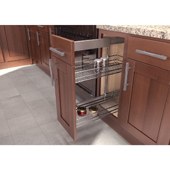 25'' ''SUB Side'' Pullout Pantry Storage Set with 9'' Baskets in Saphir / Chrome Finish