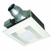 80 - 110 CFM Whisper Fit EZ Low Profile Bathroom Fan w/ Light & Nightlight, 3 - 4'' Duct