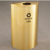 Glaro Single Purpose Half Round Recycling Receptacle, 10 Gallon, Available in Multiple Colors, 18''W, 4-7/8''Dia. hole, No Message, Only Recycling Logo, Satin Brass Finish, Satin Brass Top