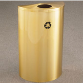 Glaro Single Purpose Half Round Recycling Receptacle, 10 Gallon, Available in Multiple Colors, 18''W, 4-7/8''Dia. hole, No Message, Only Recycling Logo, Satin Black Finish, Matching Top, Shown in Satin Brass