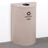 Glaro Single Purpose Half Round Recycling Receptacle, 10 Gallon, Available in Multiple Colors, 18''W, 4-7/8''Dia. hole, No Message, Only Recycling Logo, Desert Stone Finish, Matching Top