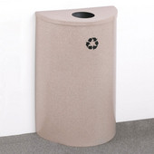 Glaro Single Purpose Half Round Recycling Receptacle, 10 Gallon, Available in Multiple Colors, 18''W, 4-7/8''Dia. hole, No Message, Only Recycling Logo, Desert Stone Finish, Satin Brass Top, Shown in Desert Stone