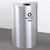 Glaro Single Purpose Half Round Recycling Receptacle, 10 Gallon, Available in Multiple Colors, 18''W, 4-7/8''Dia. hole, No Message, Only Recycling Logo, Satin Aluminum Finish, Satin Aluminum Top