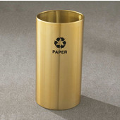 Glaro RecyclePro Open Top Receptacle, 11 Gallon, Available in Multiple Colors, 12''W x 23''H, Open Top, Newspaper message w/ Recycling Logo, Satin Brass Finish