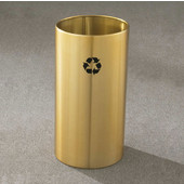 Glaro RecyclePro Open Top Receptacle, 11 Gallon, Available in Multiple Colors, 12''W x 23''H, Open Top, No Message, Only Recycling Logo, Satin Brass Finish