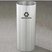 Glaro RecyclePro Open Top Receptacle, 14 Gallon, Available in Multiple Colors, 12''W x 29''H, Open Top, Newspaper message w/ Recycling Logo, Satin Brass Finish, Shown in Satin Aluminum